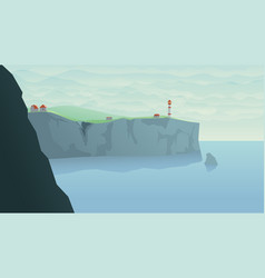 Lighthouse on high shore in day light vector