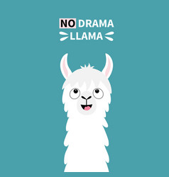 Llama alpaca animal face looking up no drama cute vector