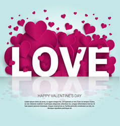 love background with pink heart shapes template vector image