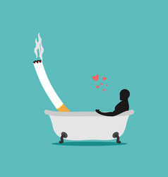 Lover smoke man and cigarette in bath smoker vector