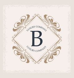 Luxury company b monogram swirl decoration vector