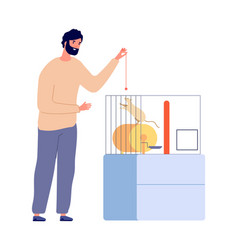 man plays with rat pets white rodent in cage vector image