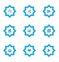 Media icons colored set with play favorite vector