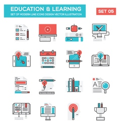 modern flat line icon concept education vector image