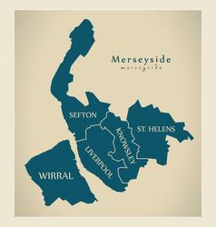 Modern map - merseyside metropolitan county vector