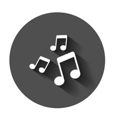 Music note icon in flat style sound media with vector