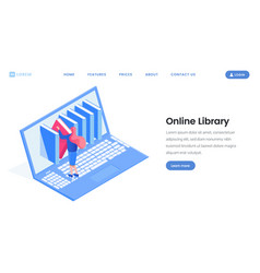 Online library landing page design vector