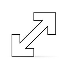 Outline arrow isolated on white extend icon vector