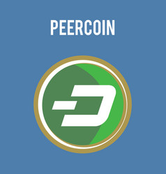 peercoin cryptocurrency symbol on gold coin flat vector image