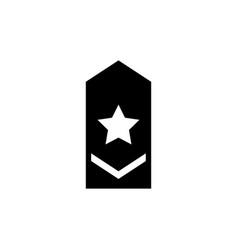Rank epaulette military shoulder badge flat icon vector