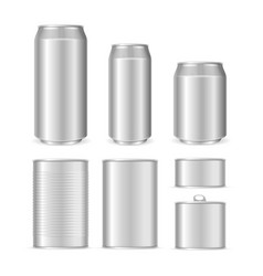 realistic detailed 3d blank can packaging template vector image