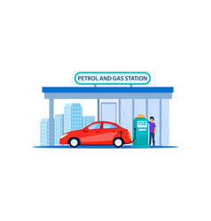 red car on petrol and gas station refill service vector image