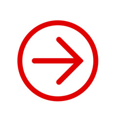red right next arrow in red circle vector image