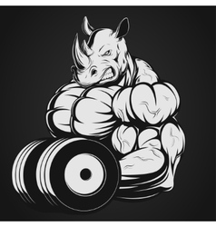 Rhino with dumbbell vector image