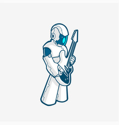 rock robot cyborg full body with electric guitar vector image
