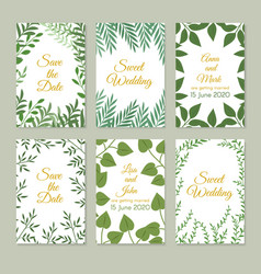 Romantic wedding invitation cards with green vector