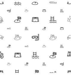 sea icons pattern seamless white background vector image