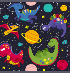 Seamless pattern with a cute dinosaur in space vector