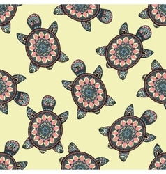 Seamless pattern with hand painted turtles vector