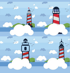 set collection lighthouse logo vector image