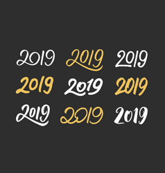 set handwritten numbers 2019 for new year vector image