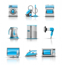Set icon of household appliances vector
