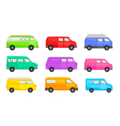 Set minivans on a white vector