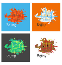 Set of beijing city map flat vector