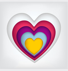set of five hearts carved from paper painted in vector image
