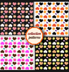 set seamless pattern with hearts and suns vector image