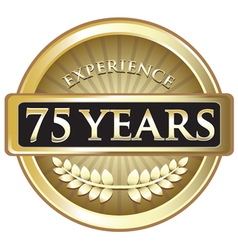 Seventy Five Years Experience Gold vector image