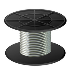 silver cable coil mockup realistic style vector image