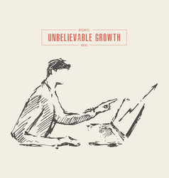 sketch man sitting laptop growing chart vector image
