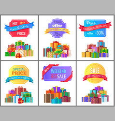 Special offer order labels on posters gift boxes vector