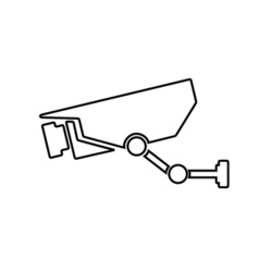 Surveillance camera outline icon Linear vector image
