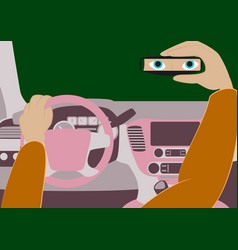 the driver in the car looks in the rear-view vector image