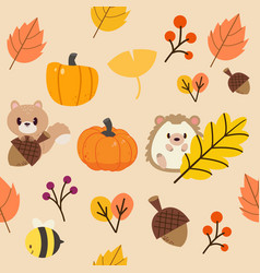 The pattern autumn leaf and wildlife animal vector