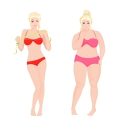 Thin Health and Fat woman Lifestyle infographic vector image