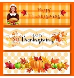 Three Thanksgiving banners vector