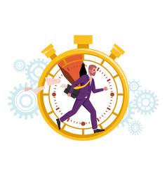 Time management man runs in stopwatch deadline vector