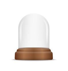 Transparent glass dome on podium vector