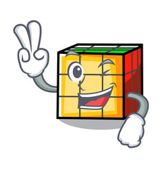 Two finger rubik cube character cartoon vector