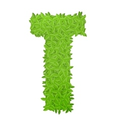 Uppecase letter T consisting of green leaves vector image