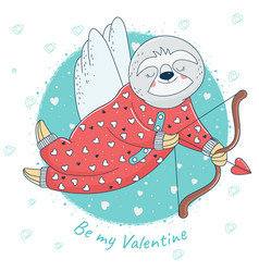 Valentine sloth with bow and arrow vector