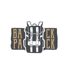 vintage hand drawn backpack badge and emblem vector image vector image