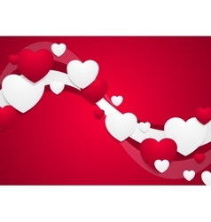 Wavy red and white Valentine Day background vector
