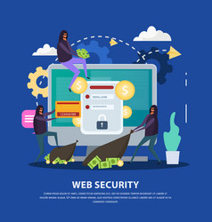 Web security flat background vector