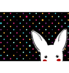 White Rabbit Colorful Dots Star Background vector image
