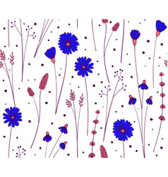 Wildflower seamless pattern floral repeat vector