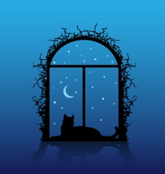 window with cat silhouette vector image